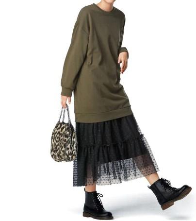 チュールロングスカート ぽっちゃりさんにおすすめの体型別スカートコーデ