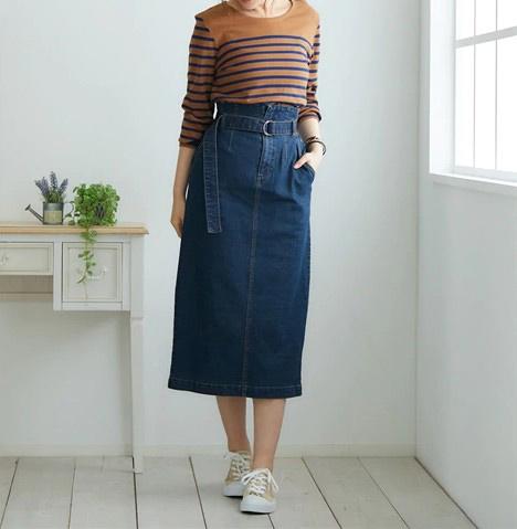 デニムタイトスカート ぽっちゃりさんにおすすめの体型別スカートコーデ