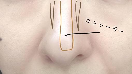 鼻筋にコンシーラーを入れる