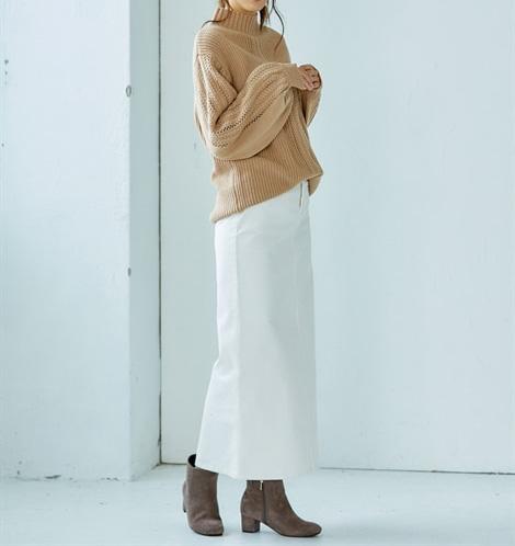 トールサイズ袖地柄ハイネックセーター