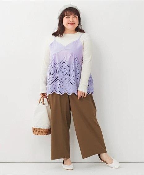 【Drop型】下半身ぽっちゃりさんは裾広がりAラインパンツ