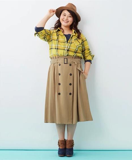 Aラインのトレンチ風スカート