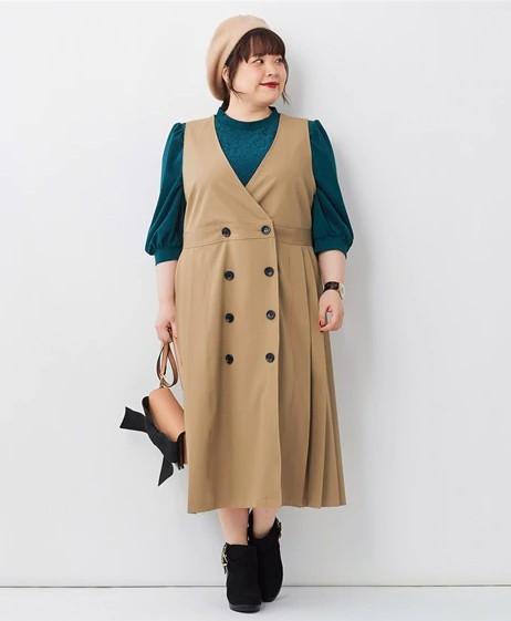 背が低いぽっちゃりさんにオススメの秋冬アイテムは「ジャンパースカート」「ベスト」「ボリューム袖」01