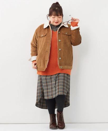 【2020-21年】ぽっちゃりさん向け冬のコート&アウター_コーデュロイジャケット